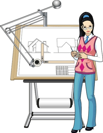 arquitecto caricatura: Arquitecto mujer de raza asiática presenta su proyecto