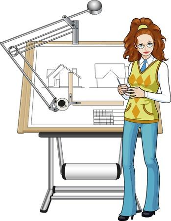 arquitecto caricatura: Arquitecto mujer de raza caucásica la presentación de su anteproyecto