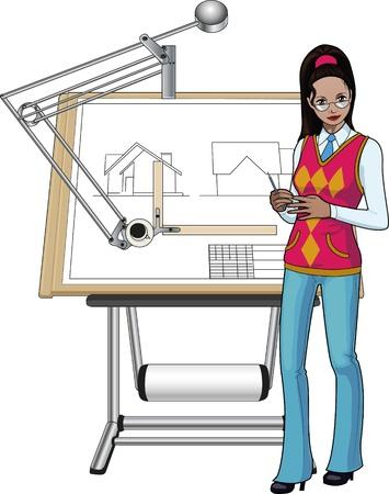 arquitecto caricatura: Arquitecto mujer de raza india que presenta su proyecto Vectores