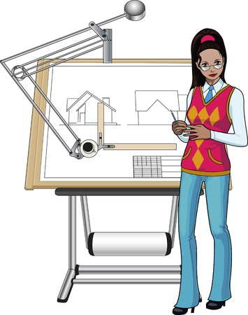 Female architect of indian race presenting her blueprint Vector