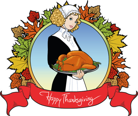 Vintage round Thanksgiving Day label with piligrim woman with roasted turkey on a plate Vector