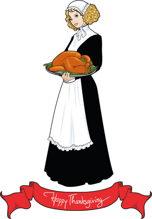 Vintage piligrim woman with roasted turkey for Thanksgiving Day Vector