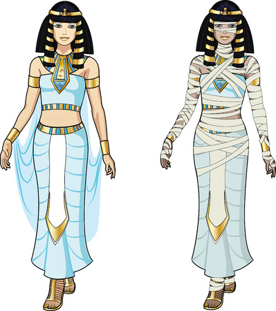 Beautiful Egyptian Queen and female Mummy Vector