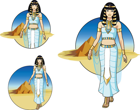 Beautiful Egyptian Queen on desert background with the Pyramids