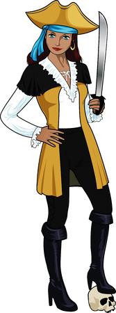 Beautiful female pirate halloween character