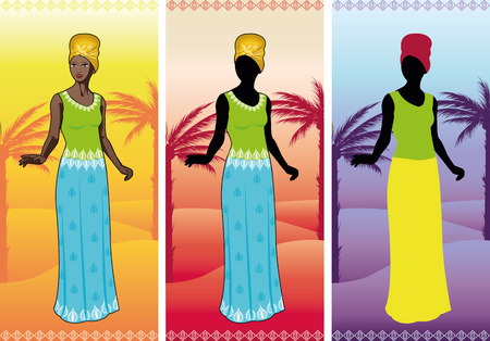 Beautiful african woman in authentic ethnic gown on background with thematical landscape color variation detailed figure and silhouette cartoon illustrations