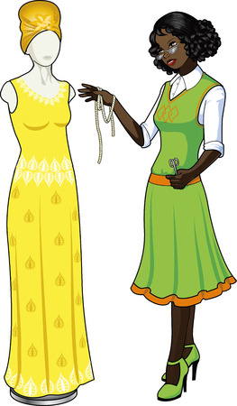 Beautiful african american female professional costume designer works on authentic ethnic wedding gown dressed mannequin isolated cartoon illustrations Vettoriali