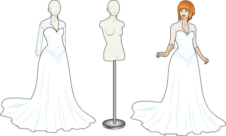 Beautiful caucasian woman tries on traditional white wedding gown in showing-room and dress on the mannequin isolated cartoon illustrations Stock Vector - 26008760