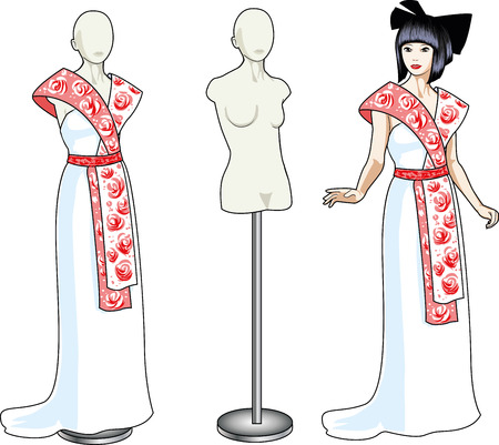 Beautiful asian woman tries on unusual white wedding gown with japanese ethnic elements in showing-room and dress on the mannequin isolated cartoon illustrations Stock Vector - 26008762