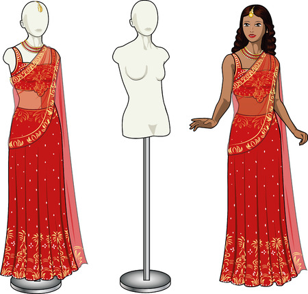 Beautiful asian woman tries on authentic traditional red wedding sari in showing-room and gown on the mannequin isolated cartoon illustrations Vector