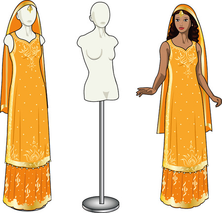 Beautiful asian woman tries on authentic traditional orange wedding sari in showing-room and gown on the mannequin isolated cartoon illustrations Vector