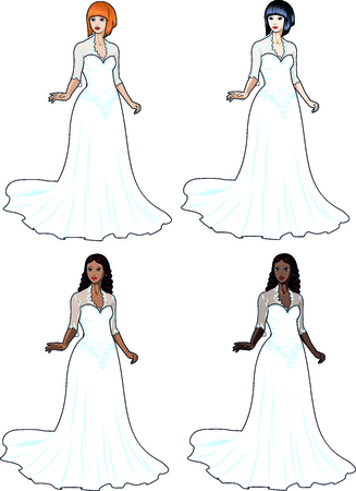 Beautiful caucasian asian latin and african woman in traditional white wedding dress isolated cartoon illustrations Vector