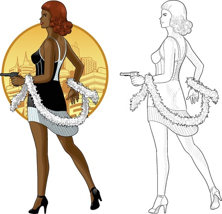 mixed race girl: Vector illustration in action comics style afroamerican woman poses dressed in black and white retro dress with a gun