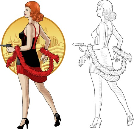 black boa: Vector illustration in action comics style woman poses dressed in black and red retro dress with a gun