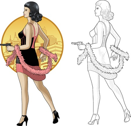 Vector illustration in action comics style asian woman poses dressed in black and pink retro dress with a gun Illustration