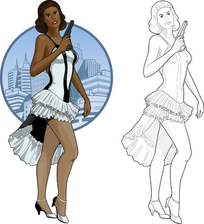 mafioso: Vector illustration in action comics style afroamerican woman poses dressed in white and black retro dress with a gun