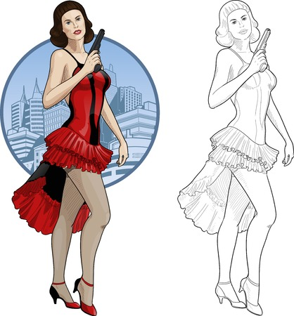 Vector illustration in action comics style caucasian woman poses dressed in red and black retro dress with a gun