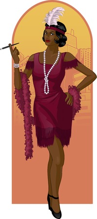feather boa: Retro character attractive afroamerican starlet drawing with colored line-art Illustration