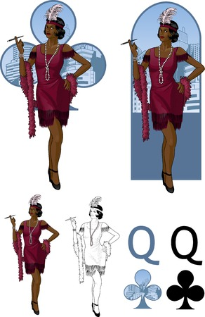 Retro character attractive afroamerican starlet drawing with bacgrounds, isolated and line-art Illustration