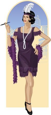 belle brunette: Rétro caractère attractif dessin starlette asiatique avec couleur au trait
