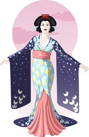 Carácter Retro Atractivo Dibujo Geisha Actriz Japonesa Con Color De