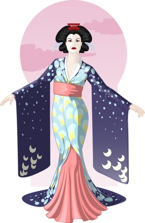 Retro character attractive japanese actress geisha drawing with colored line-art