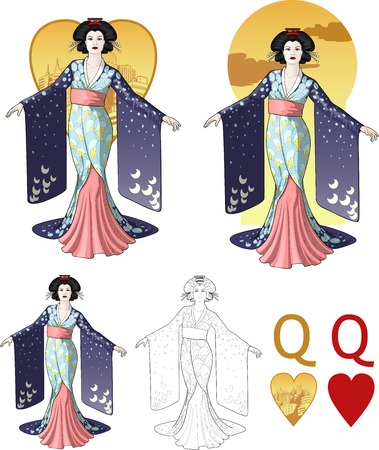 Retro character attractive japanese actress geisha drawing with bacgrounds, isolated and line-art Vector