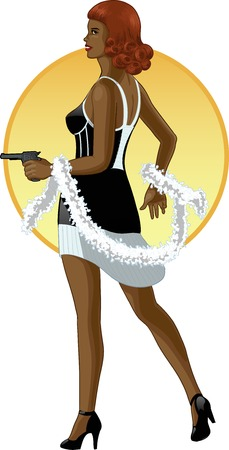 women with guns: Retro girl mixed race in black with a gun colored lines in cartoon style