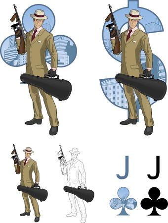 mafioso: Jack of clubs Hispanic mafioso retro styled comics card character set of illustrations with black lineart Illustration