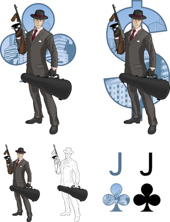 mafioso: Jack of clubs mafioso retro styled comics card character set of illustrations with black lineart Illustration