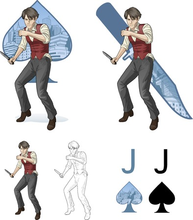 Jack of spades brawling man retro styled comics card character set of illustrations with black lineart Vector