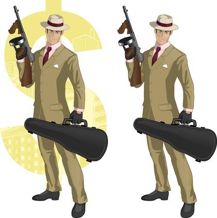 Hispanic mafioso retro styled cartoon character with colored lineart Illustration