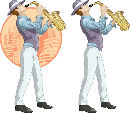 Caucasian musician retro styled cartoon character with colored lineart Vector