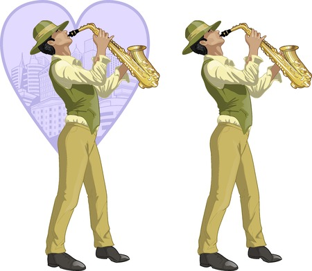 music figure: Hispanic musician retro styled cartoon character with colored lineart
