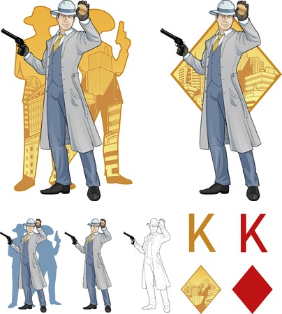 King of diamonds caucasian police chief shows his badge with a gun and people silhouettes retro styled comics card character set of illustrations with black lineart