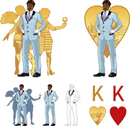 mixed race: King of hearts attractive afroamerican man in luxury stripped costume with female corps de ballet dancers silhouettes retro styled comics card character set of illustrations with black lineart