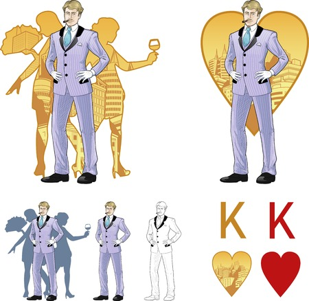 corps: King of hearts attractive caucasian man in luxury stripped costume with female corps de ballet dancers silhouettes retro styled comics card character set of illustrations with black lineart