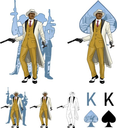 mafioso: King of spades afroamerican mafioso godfather with a gun and armed crew silhouettes retro styled comics card character set of illustrations with black lineart