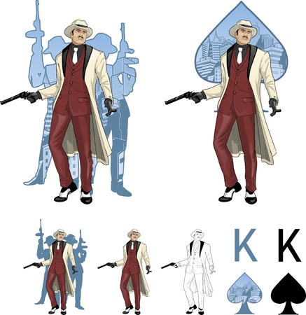 kingpin: King of spades asian mafioso godfather with a gun and armed crew silhouettes retro styled comics card character set of illustrations with black lineart