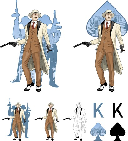 kingpin: King of spades caucasian mafioso godfather with a gun and armed crew silhouettes retro styled comics card character set of illustrations with black lineart