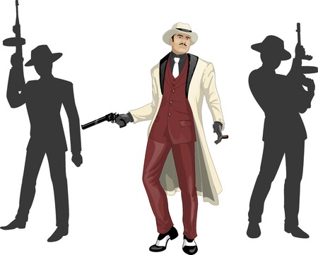 Asian mafioso godfather with a gun and armed crew silhouettes retro styled cartoon character with colored lineart