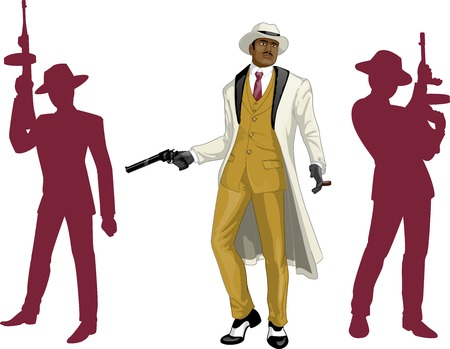 kingpin: Afroamerican mafioso godfather with a gun and armed crew silhouettes retro styled cartoon character with colored lineart Illustration