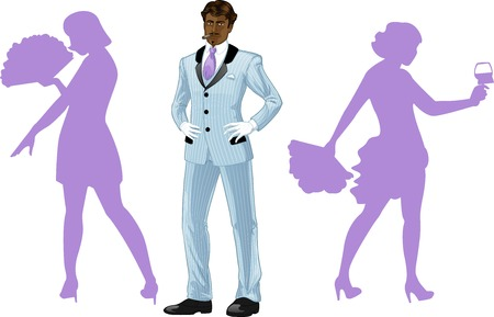 corps: Attractive afroamerican man in luxury stripped costume with female corps de ballet dancers silhouettes retro styled cartoon character with colored lineart Illustration