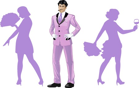 corps: Attractive asian man in luxury stripped costume with female corps de ballet dancers silhouettes retro styled cartoon character with colored lineart