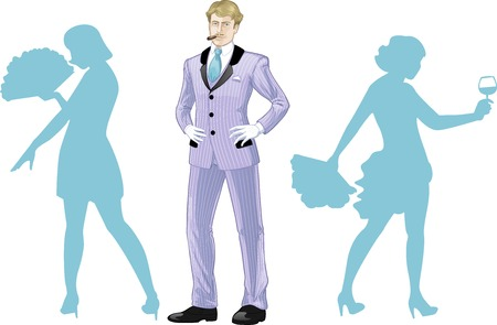corps: Attractive caucasian man in luxury stripped costume with female corps de ballet dancers silhouettes retro styled cartoon character with colored lineart