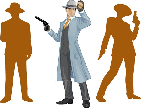 Asian police chief shows his badge with a gun and people silhouettes retro styled cartoon character with colored lineart