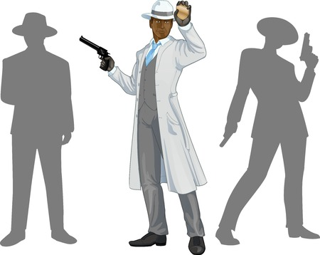 Afroamerican police chief shows his badge with a gun and people silhouettes retro styled cartoon character with colored lineart
