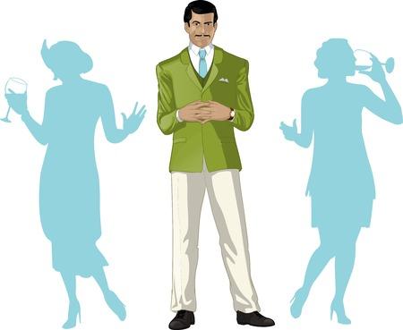 guests: Var�n asi�tico anfitri�n de la fiesta saludo con hu�spedes femeninas siluetas de estilo retro personaje de dibujos animados con lineas de color