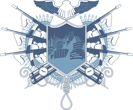 Mafia heraldic coat of arm with Tommy-gun and dynamite with night city view on the shield Vector