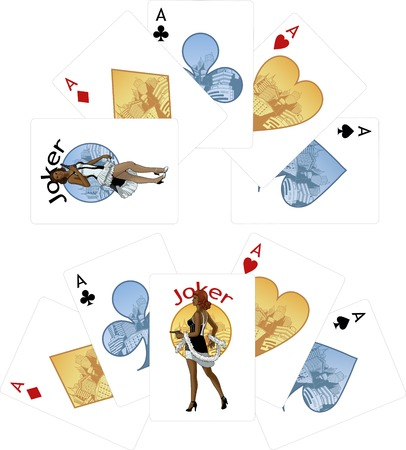 mixed race girl: Four aces and female Afroamerican Joker starlet with gun playing cards noir Mafia set Illustration